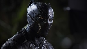 """The triangular patterns visible in Chadwick Boseman's Black Panther suit reflect what costume designer Ruth Carter calls """"the sacred geometry of Africa."""" Photo: Matt Kennedy/Marvel Studios"""