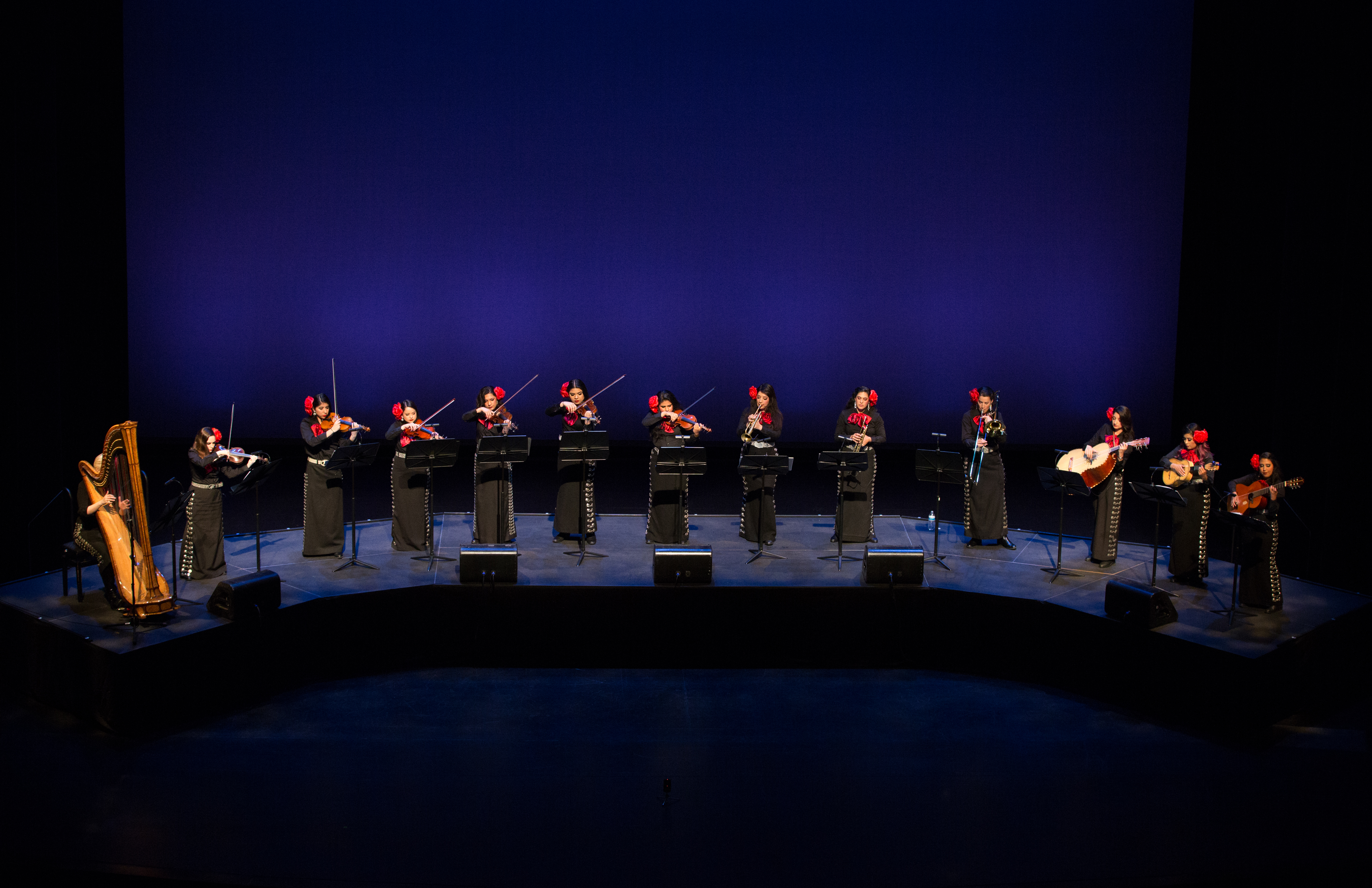 Photo of Mariachi Rosas Divinas at Tuesday night's 'MARIACHI WAGNER' performance at Moody Performance Hall. The show was part of the Dallas Symphony Orchestra's SOLUNA Festival. Photo: Sylvia Elzafon