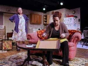 "Actors Jessica Cavanagh and Amber Devlin in ""night, Mother"" at Echo Theatre. Photo: Echo Theatre"