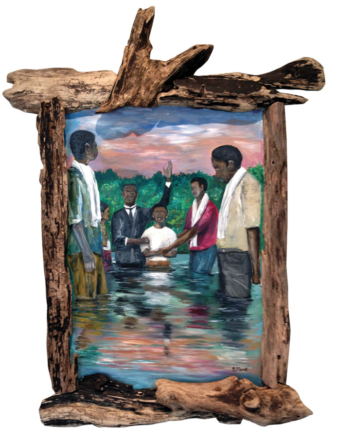 Baptismal by Guinn Powell, driftwood framed oil on masonite.