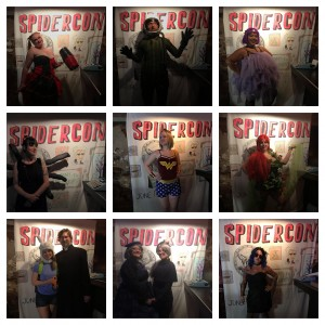 Photo collage of people in costume at SpiderCon.