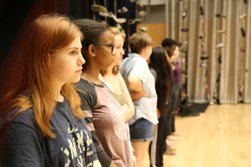 Cast members of Cry Havoc line up to receive direction. Photo: Hady Mawajdeh
