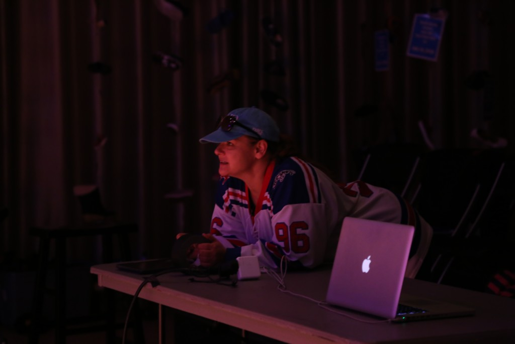 Acting coach Lisa Cotie sports a hockey jersey during rehearsal. Photo: Hady Mawajdeh
