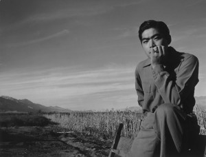 Tom Kobayashi, Landscape, Manzanar Relocation Center, California, 1943. Photograph by Ansel Adams.