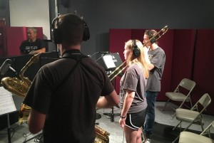 UT Arlington jazz camp musicians played and recorded in the UTA's studio for audio production campers to record and produce. Photos: Bill Zeeble / KERA NEWS