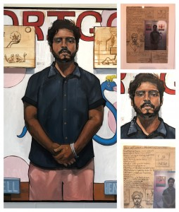 """""""Drigo"""" (collage) by Riley Holloway Exhibited at Fort Works Art - """"Spectrum"""" Photo: Hady Mawajdeh"""