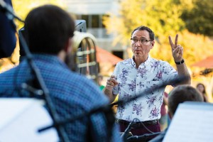 Alan Baylock conducts at the Frisco Art Walk at Hall Park in association with the Frisco Arts Association. The event featured performances by the UNT Jazz Singers and the Two O'Clock, Three O'Clock and One O'Clock Lab Bands. Photo: via UNT News & Kara Dry)