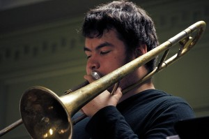 Senior Dj Rice plays trombone with the One O'Clock Lab Band. Photo: Dj Rice Music