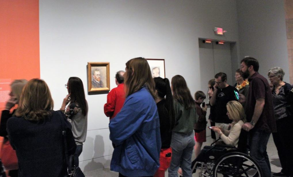 Crowds have been gathering at the MFAH's 'Vincent Van Gogh: His Life In Art' exhibit since it opened on Sunday, March 10. Photo: Katie Watkins/Houston Public Media)