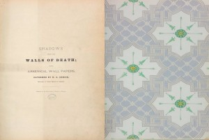 The title page for Shadows from the Walls of Death, and a sheet of wallpaper. Photo: NATIONAL LIBRARY OF MEDICINE/ PUBLIC DOMAIN