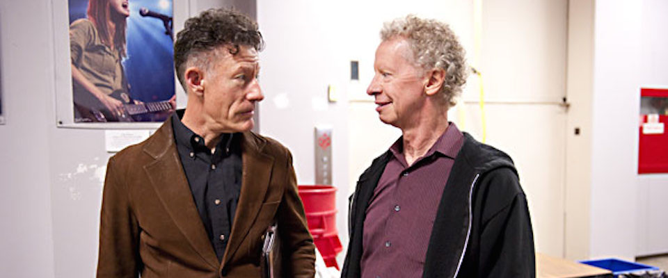 Lyle Lovett (left) and Terry Lickona (right) at the final taping of Austin City Limits Live at the University of Texas campus. Photo: KUTX