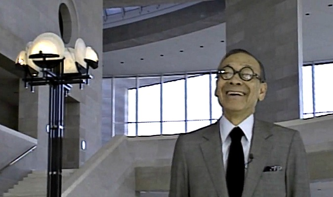 A screenshot of architect I. M. Pei inside the Meyerson in the film 'Frozen Music.'
