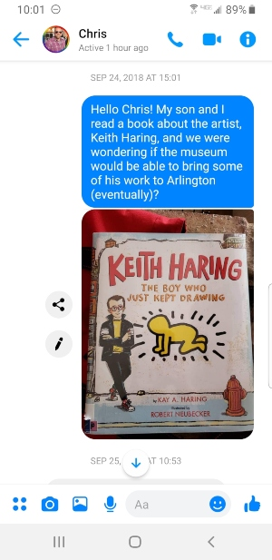A screenshot featuring the message that Jenifer Silverton sent to Chris Hightower at the Arlington Museum of Art. Photo: Courtesy Jenifer Silverton