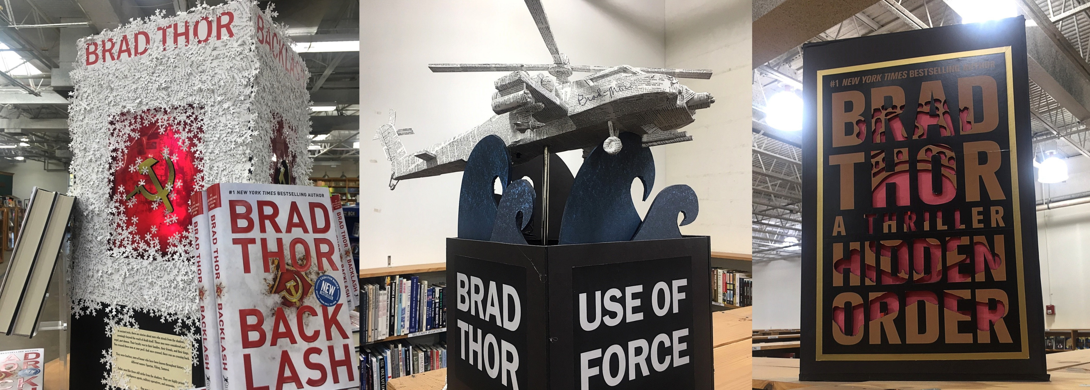 Baughman's paper sculptures for Brad Thor's thrillers. Photo: Hady Mawajdeh