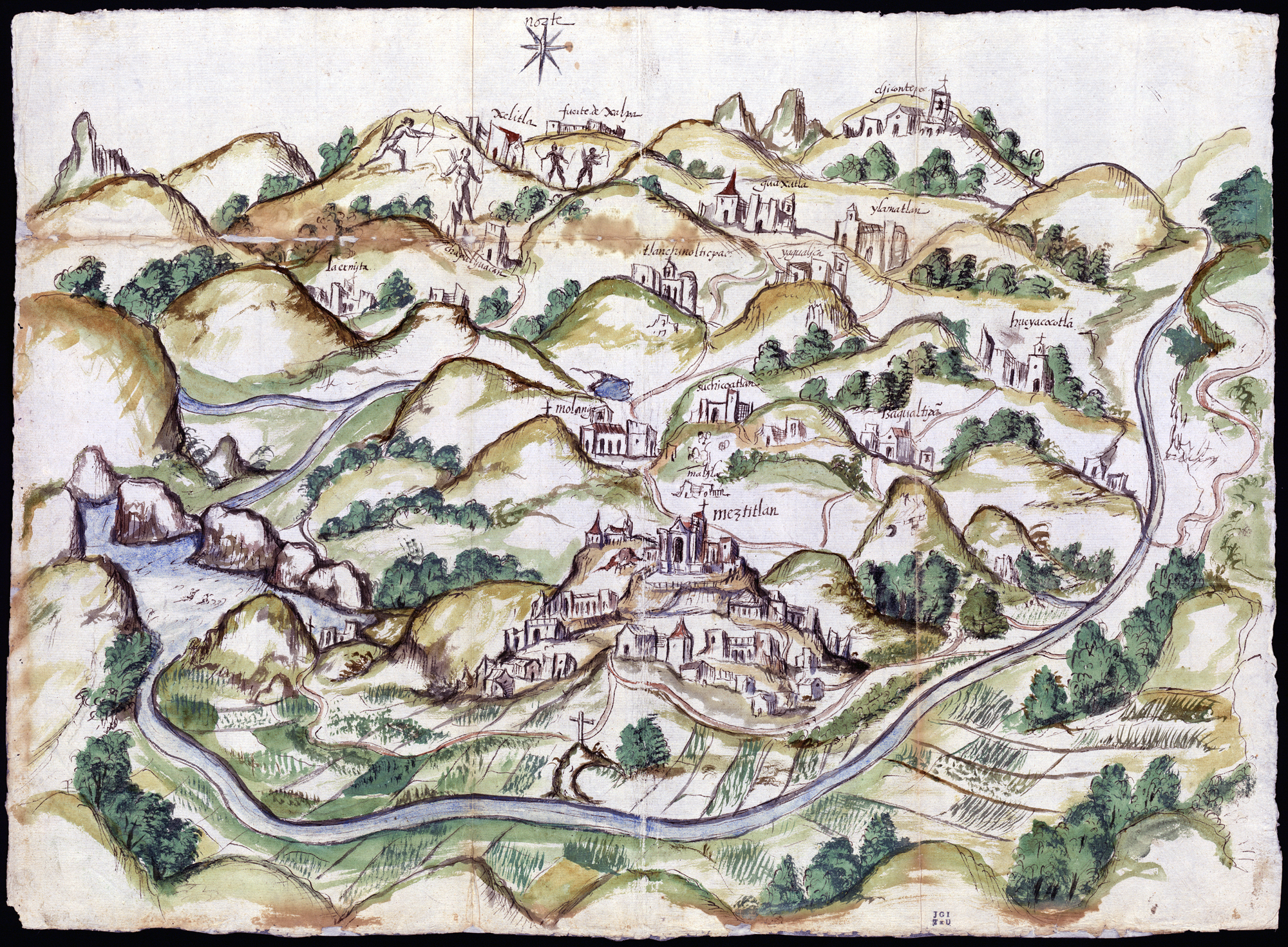 The Mapping Memory exhibition at the Blanton Museum of Art in Austin, Texas, displays maps made in the late 1500s of what is now Mexico. They were created by indigenous peoples to help Spanish invaders map occupied lands. This watercolor and ink map of Meztitlán was made in 1579 by Gabriel de Chavez. Photo: Blanton Museum of Art