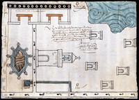 """Martín Cano's watercolor and ink map of Ixtapalapa, made in 1580, shows a lagoon in one corner. Ixtapalapa means """"water near the flat stones,"""" Granados explains. Photo: Blanton Museum of Art"""
