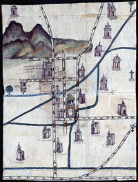 """Pedro de San Agustín created this watercolor map of Culhuacán in 1580. He was a judge — a powerful figure in the town. """"Before the conquest, nobles were the only ones trained as painters,"""" exhibit curator Rosario Granados explains. She notes that this map is made on bark paper, the traditional material used before the Spaniards arrived. Photo: Blanton Museum of Art"""