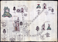 """This watercolor map of Tetliztaca, made in 1581, is an example of the merging of indigenous and Western painting traditions, says Rosario Granados. In keeping with indigenous tradition, plants are depicted with roots, but the detail is """"similar to what you could find in botanical treatises,"""" she says. She points to the three-dimensional shading of the churches as evidence of European influence. Photo: Blanton Museum of Art"""