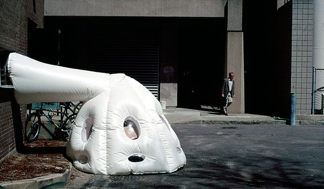 """Photo of a work known as """"paraSITE."""" For this piece, Rakowitz collaborated with homeless individuals in large international cities to craft shelters. Photo: Courtesy http://www.michaelrakowitz.com"""