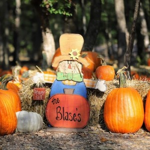 """The Blase's"" written on wooden scarecrow. Pumpkins surround the scarecrow."
