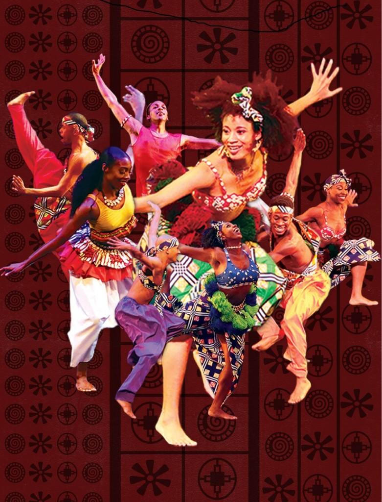 Dallas Black Dance Theatre dancers performing African dances in bright costumers