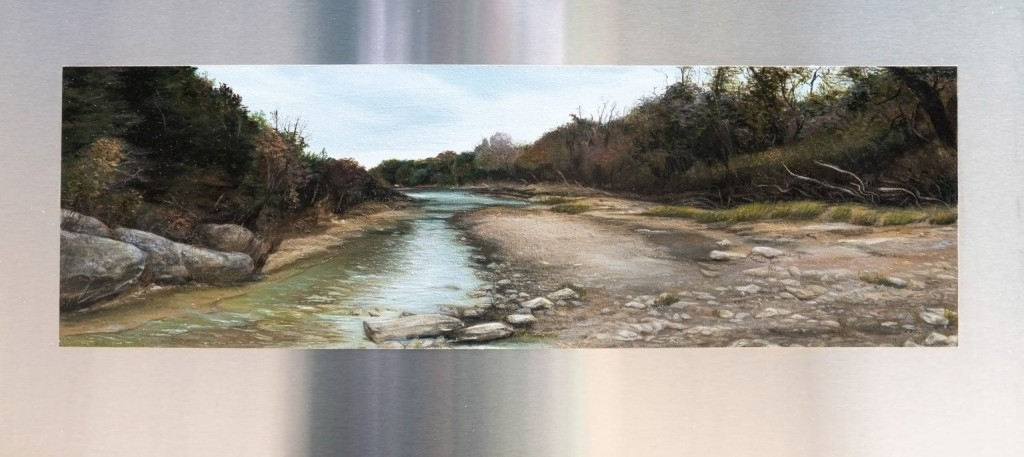 """Oil painting by Kerri Menchaca done on stainless steel called """"Off Trail."""" It's done in a realistic style and depicts a shallow stream."""