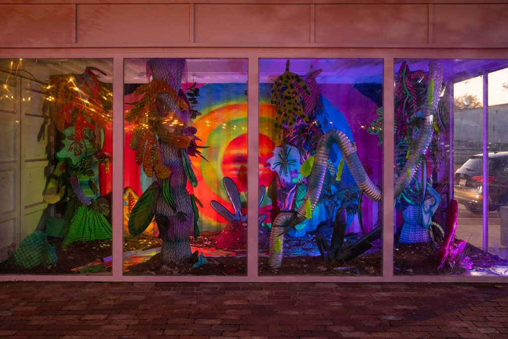 A neon lit technicolor jungle is the latest installation that sits in Art South Box mini-gallery.