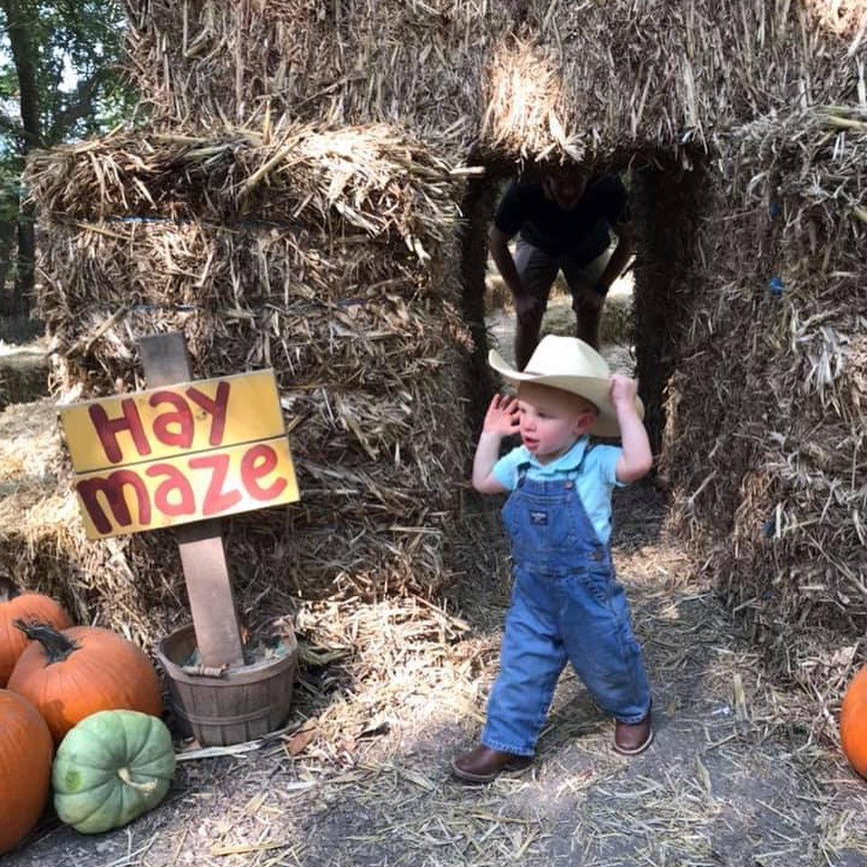 """Little boy wearing cowboy hat and overalls runs through stacked haybales. Sign that reads """"Hay Maze"""" in left corner"""