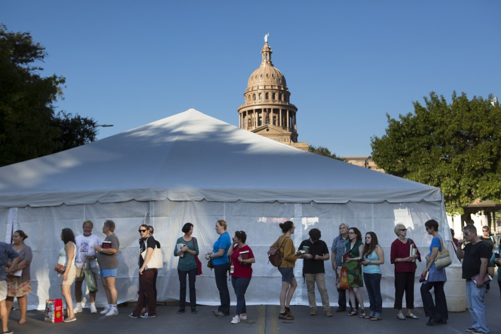 People stand in line at the Texas Book Festival.