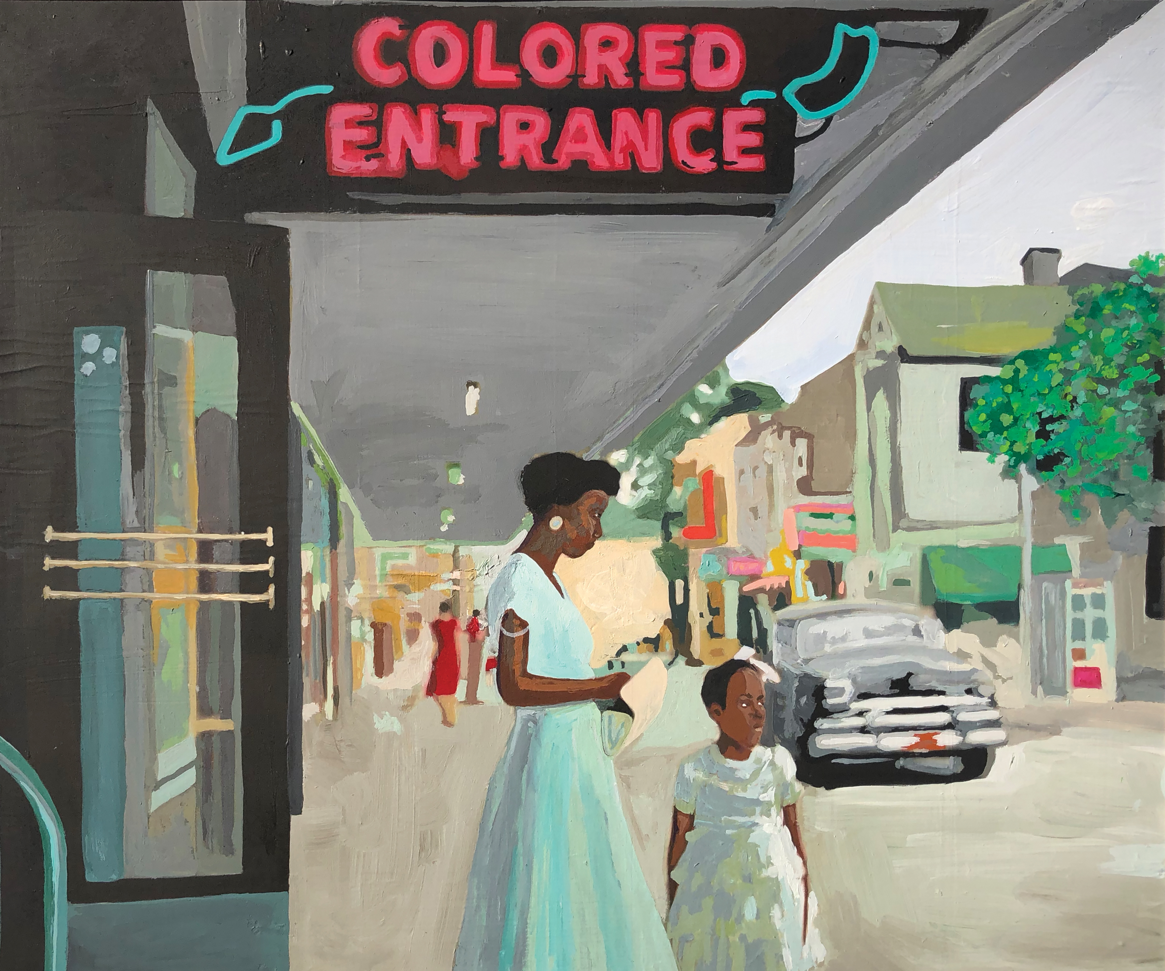 """A woman and a small child stand in front of an Alabama theater. The two had to enter through a """"colored enterence."""""""