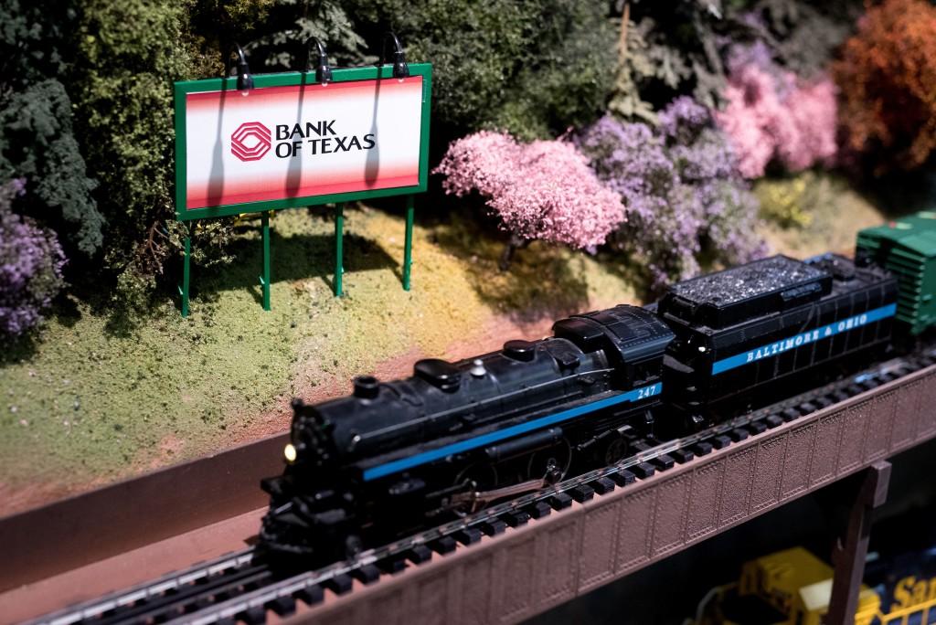 Model train in tracks.