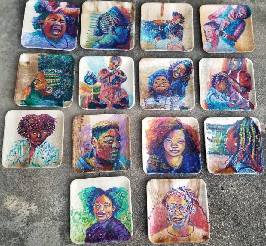 14 portraits of African American women doing hair. The paintings are painted on square plates.