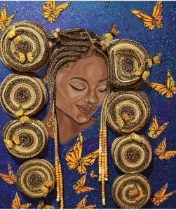 "Portrait of African woman called ""serenity"" by Youveline Joseph. The woman is looking down with her eyes closed. She has coils of beaded braids around her face which are made of real hair."