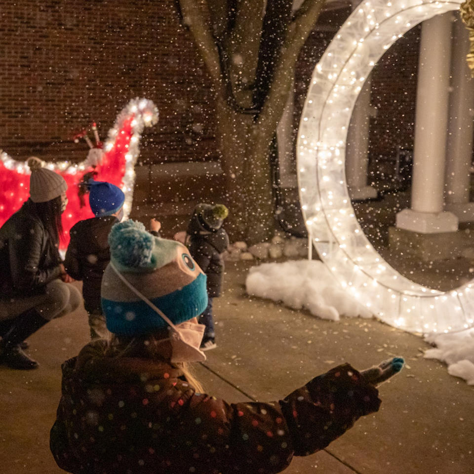 Boy holds out hand for snow at nighttime light display
