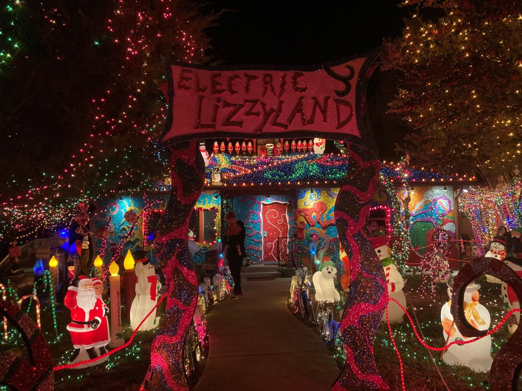 Electric Lizzyland sign and display. Lights and glowing plastic holiday characters decorate the trees, lawn and house.