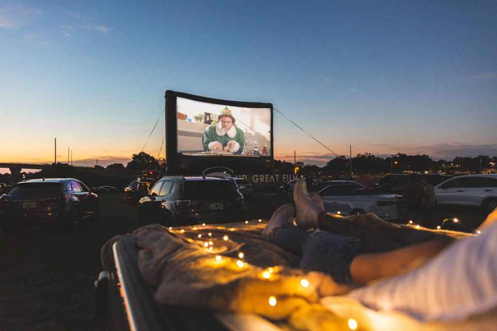 drive in with the movie Elf in the background