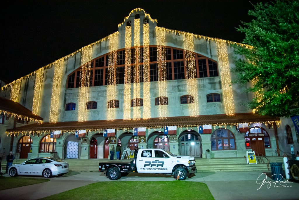 night time shot of Cowtown Coliseum with white lights