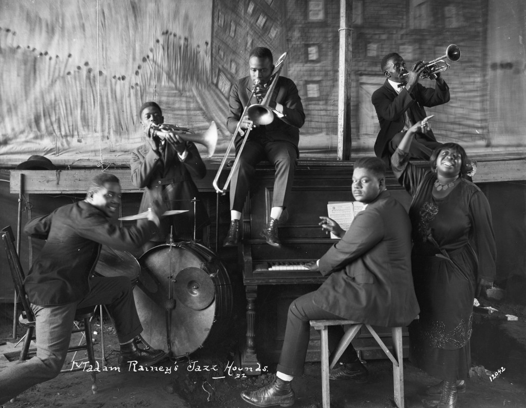 Ma Rainey's jazz band with musicians playing instruments