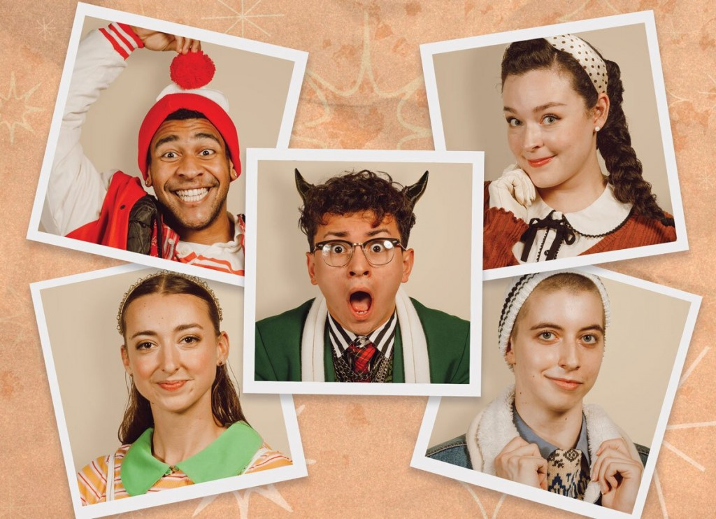 Publicity photos of the cast of 'The Naughty List.' Cast are dressed as elves and Crampus.