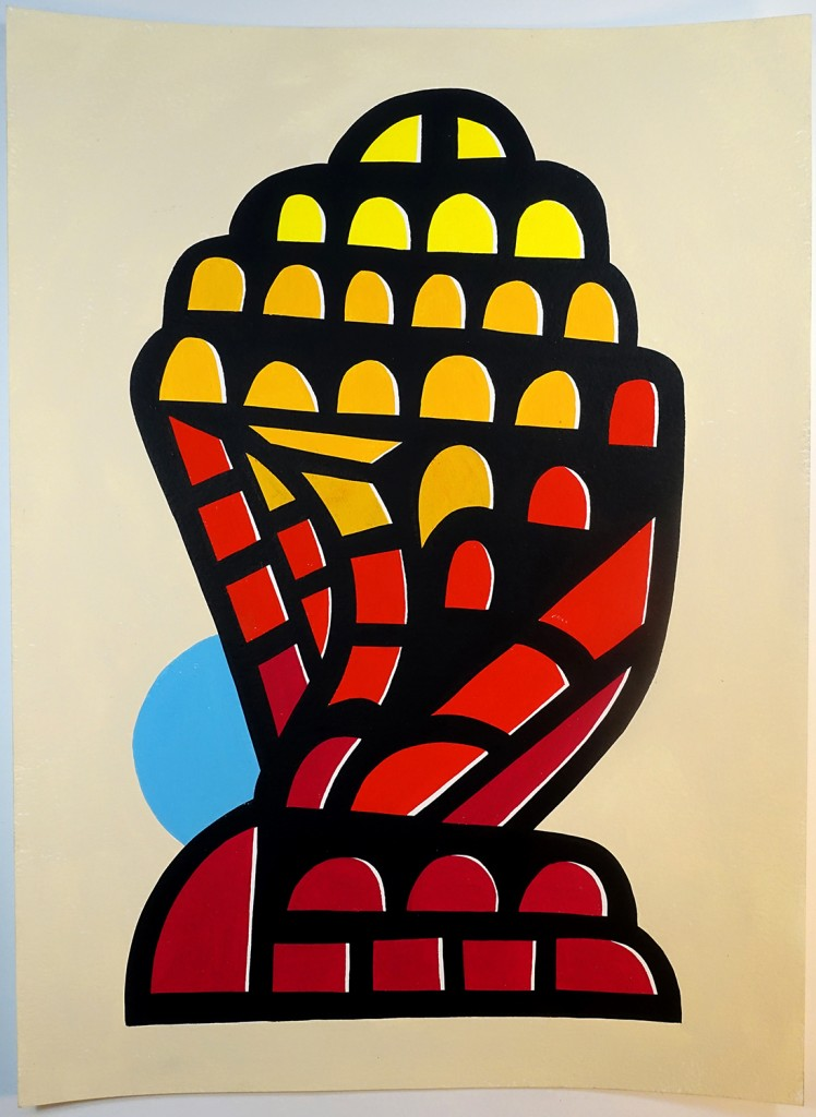 red and yellow abstract figure
