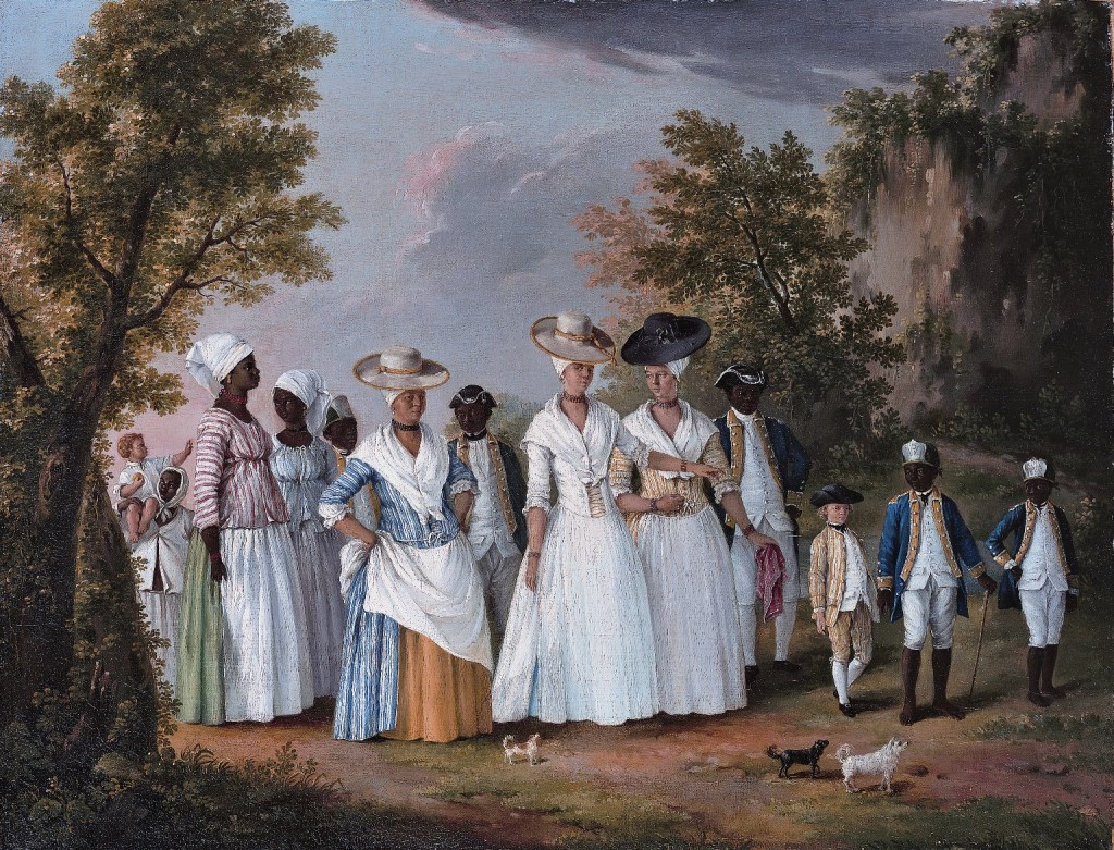 "Italian artist Agostino Brunias painting ""Free Women of Color with Their Children and Servants in a Landscape."" The painting is a landscapefrom the late 1700s and depicts 3 finely dressed black women accompanied by their children and their black servants."