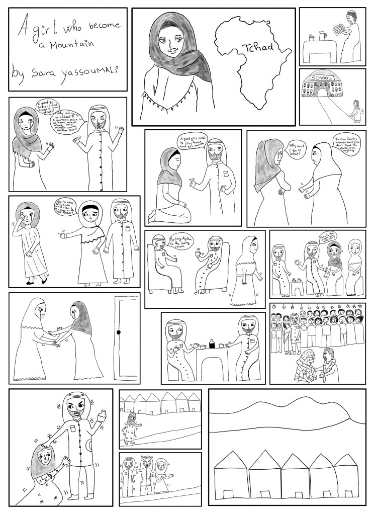 Comic art called A Girl Who Became a Mountain by Sara Yassoumali. The comic tells the story of a child marriage in Chad.