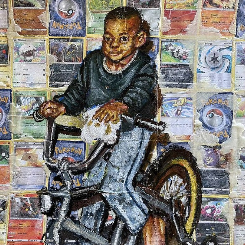 painting of black boy riding a bicycle. The painting is mounted on top of Pokemon cards.
