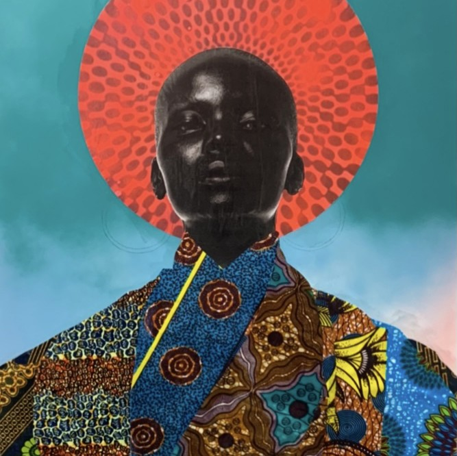 Photograph of a black woman with a Halo an in African attire. The work is a collage done with fabric and spray paint, and photography.