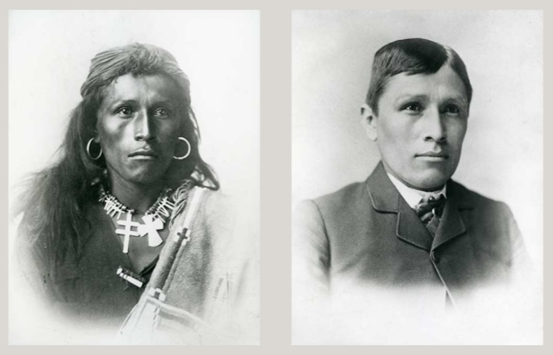 side by side pictures of Navajo teenage boy depicting before and after he entered Carlisle Indian School. On the left he is in traditional Navajo dress, on the right he has short hair and is wearing a period 1880s suit.