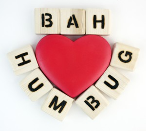 Bah Humbug spelled out in tiles around heart