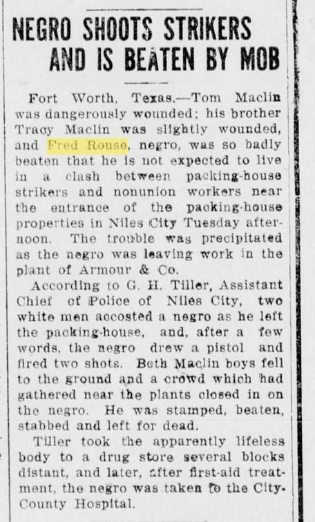 Plano Star-Courier article about Fred Rouse beating Dec. 9 1921